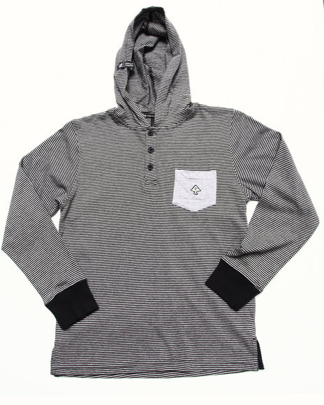 LRG Boys Black Hooded Henley (8-20)