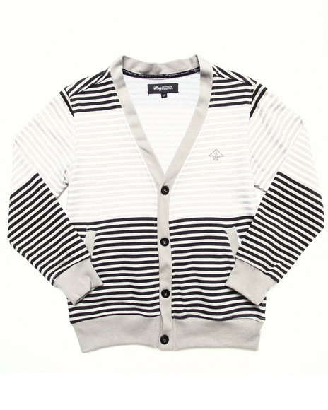 LRG Boys White Striped Cardigan (8-20)