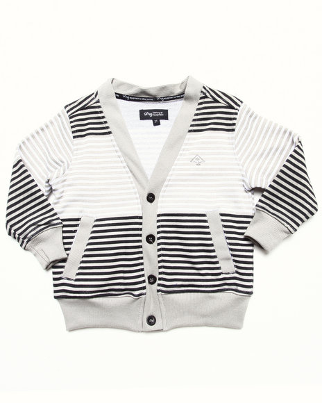LRG Boys White Striped Cardigan (2T-4T)