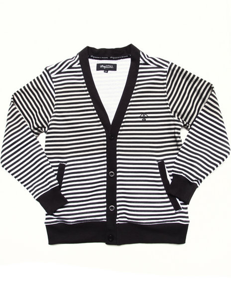 LRG Boys Black Striped Cardigan (8-20)
