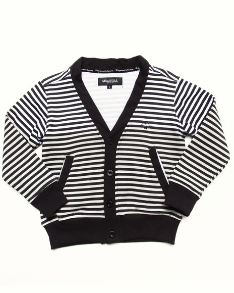 LRG Boys Black Striped Cardigan (4-7)