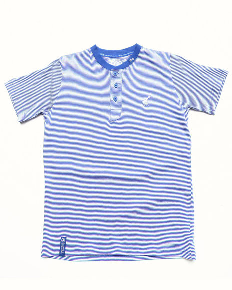 Lrg - Boys Blue Striped Henley Tee (4-7)