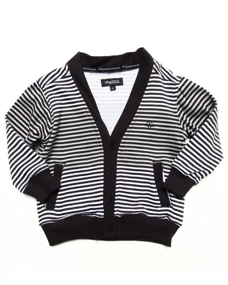 LRG Boys Black Striped Cardigan (2T-4T)