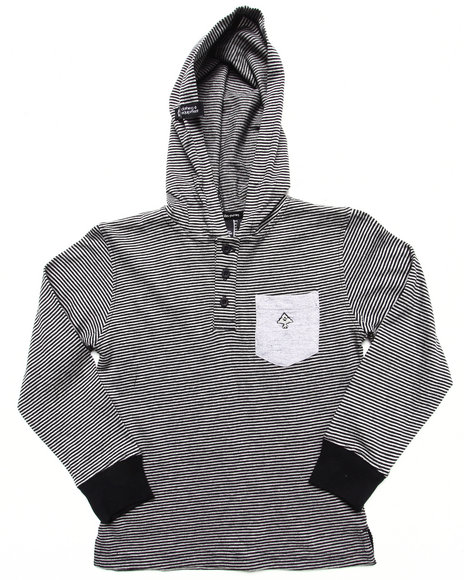 LRG Boys Black Hooded Henley (4-7)