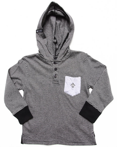LRG Boys Black Hooded Henley (2T-4T)