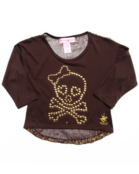 La Galleria Girls Brown Skull Studded High Low Top (4-6X)