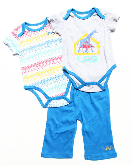 LRG Boys Blue 3 Pc Set 2 Creepers & Shorts (Newborn)