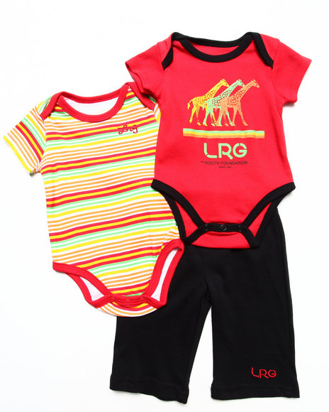 LRG Boys Red 3 Pc Set 2 Creepers & Shorts (Newborn)