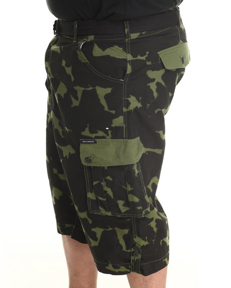 Rocawear - Men Green 5 Boro Camo Ripstop Blueprint Cargo Shorts (B & T)