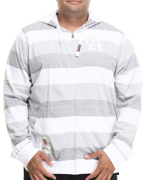 Akademiks - Men White Striped Zip-Up With Hood (B&T)
