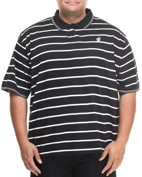 Rocawear Black Heather Stripe Polo (Big & Tall)
