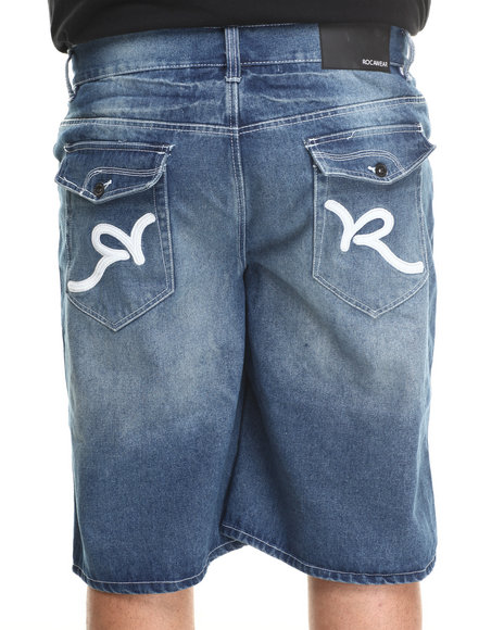 Rocawear - Men Vintage Wash R Flap Denim Shorts (B & T)