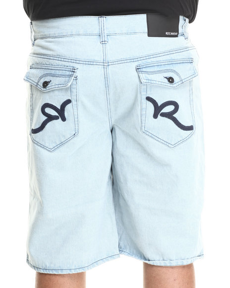 Rocawear - Men Light Blue R Flap Denim Shorts (B & T)