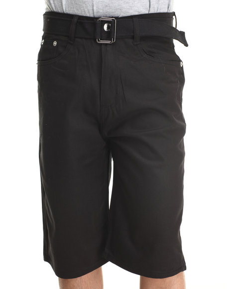 Basic Essentials - Men Black Denim Shorts With Belt