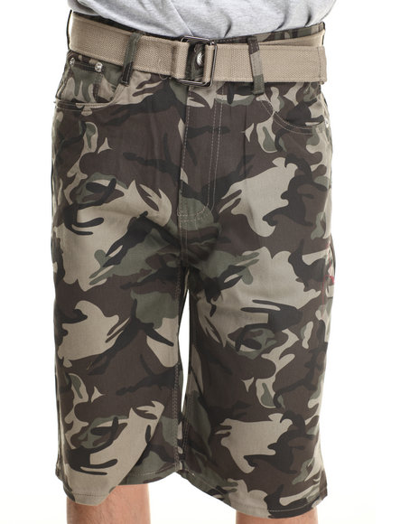 Basic Essentials - Men Camo Denim Shorts With Belt