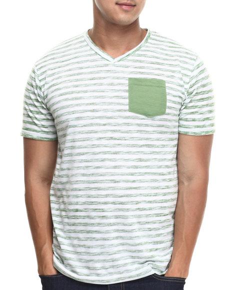 Basic Essentials - Men Green Striped Pocket Vneck Tee