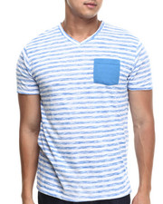 Shirts - Striped Pocket Vneck Tee