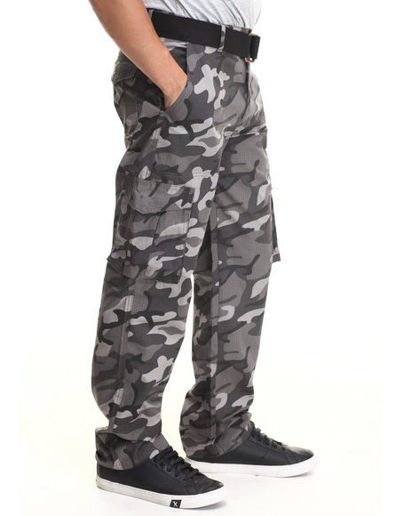 Basic Essentials - Men Black,Camo Ripstop Cargo Pants With Belt