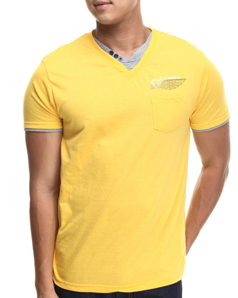 Basic Essentials - Men Yellow Fashion Vneck With Trim Tee
