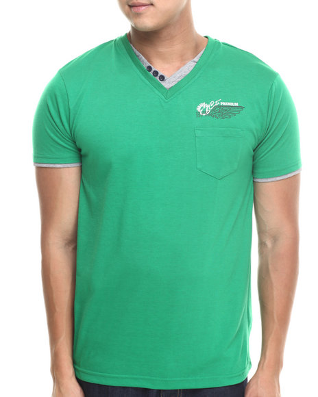 Basic Essentials - Men Green Fashion Vneck With Trim Tee