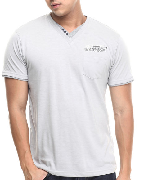 Basic Essentials - Men Grey Fashion Vneck With Trim Tee - $9.99