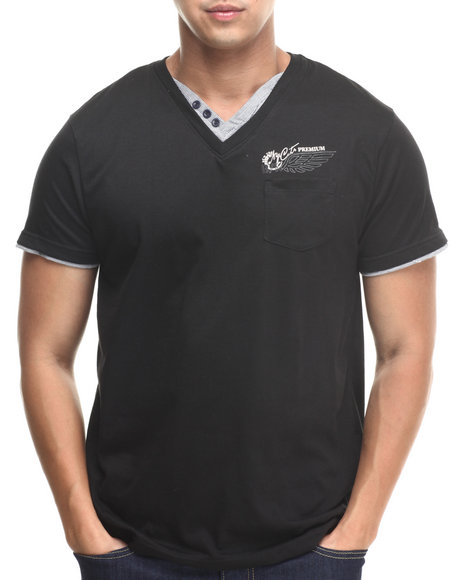 Basic Essentials - Men Black Fashion Vneck With Trim Tee