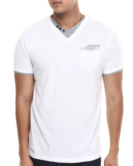 Basic Essentials - Men White Fashion Vneck With Trim Tee