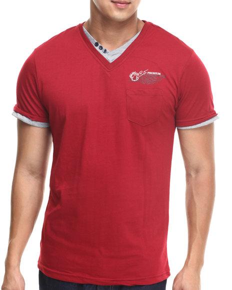 Basic Essentials - Men Red Fashion Vneck With Trim Tee