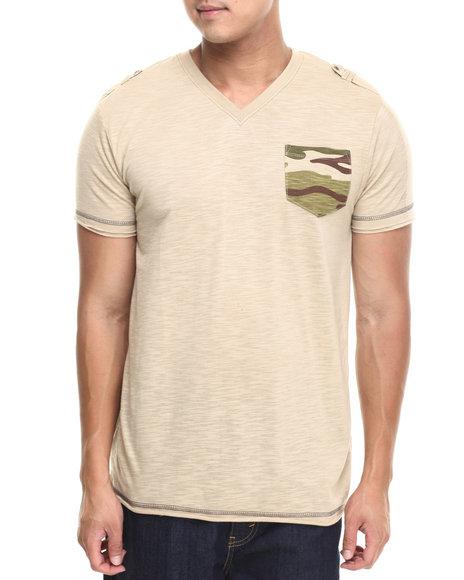 Basic Essentials - Men Khaki Camo Pocket Fashion Tee