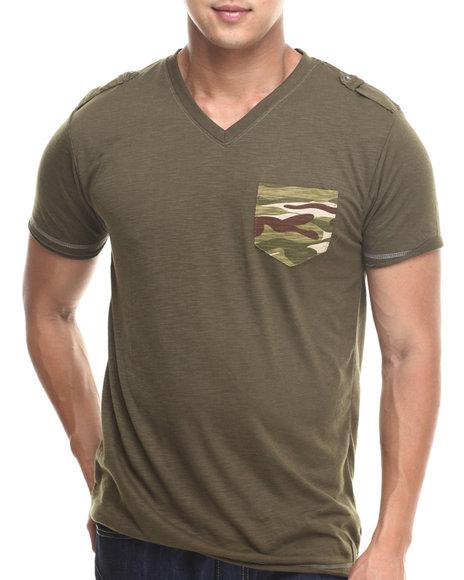Basic Essentials - Men Olive Camo Pocket Fashion Tee