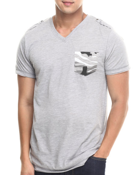 Basic Essentials - Men Grey Camo Pocket Fashion Tee