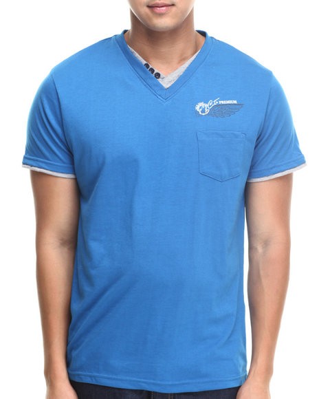 Basic Essentials - Men Blue Fashion Vneck With Trim Tee