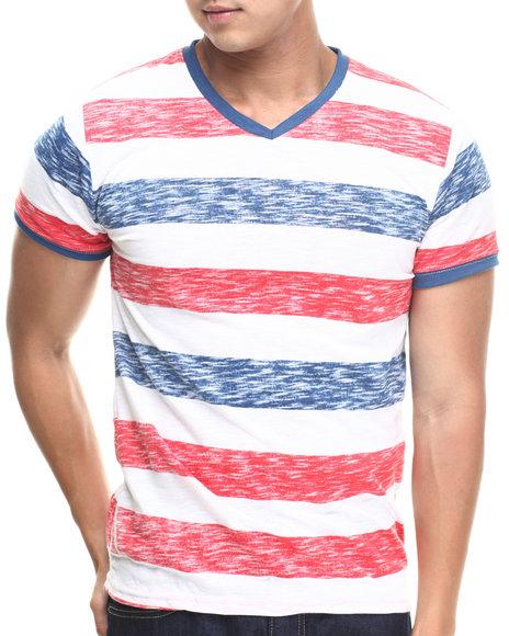 Basic Essentials - Men Blue,Red Reverse Slub Striped Tee
