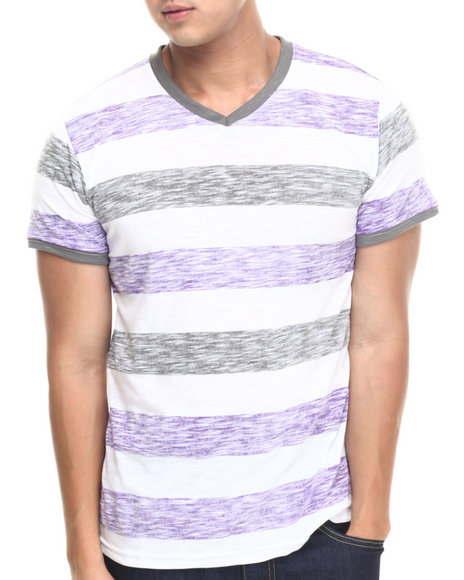 Basic Essentials - Men Grey,Purple Reverse Slub Striped Tee - $8.99