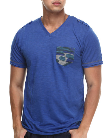 Basic Essentials - Men Blue Camo Pocket Fashion Tee