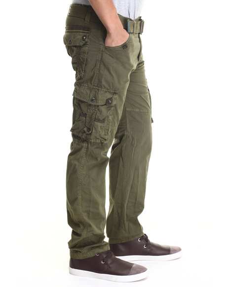 Basic Essentials - Men Olive Jetlag Cargo Pants - $31.99