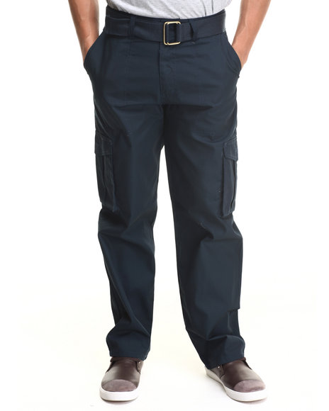Basic Essentials - Men Navy Ripstop Cargo Pants With Belt