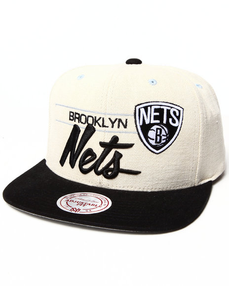 Mitchell & Ness Men Brooklyn Nets City Bar Script Snapback Hat Off White - $23.99