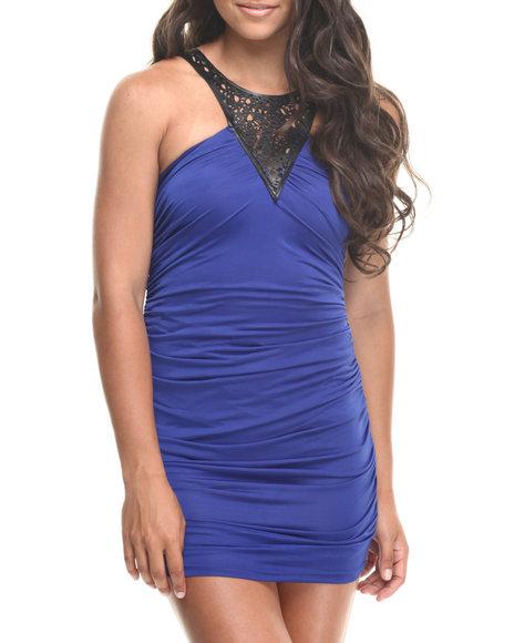 Fashion Lab - Women Blue Cutout Ruched Dress W/ Vegan Leather Detail