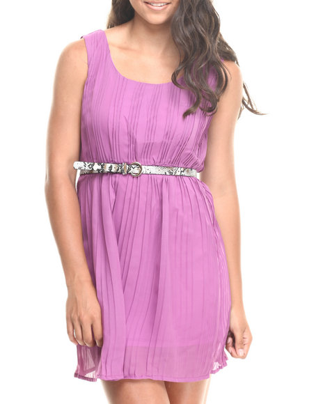 Fashion Lab - Women Purple Belted Knit Skater Dress