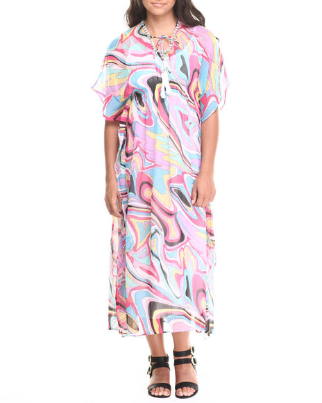 Fashion Lab - Women Multi Sheer Large Floral Maxi Dress