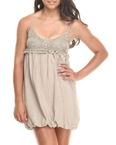 Fashion Lab - Women Tan Strapless Crochet Detail Dress