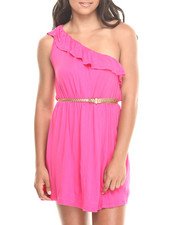 Women - Belted One Shoulder Ruffle Dress