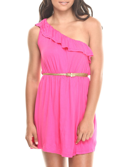 Fashion Lab - Women Pink Belted One Shoulder Ruffle Dress