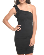 Women - One Shoulder Ruffle Dress