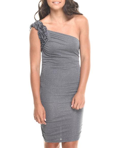 Fashion Lab - Women Grey One Shoulder Ruffle Dress