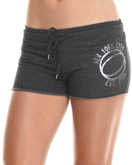 Nba Mlb Nfl Gear - Women Charcoal New York City Shot Shorts