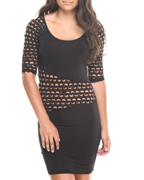 Fashion Lab - Women Black Long Sleeve Laser Cutout Dress
