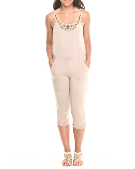 Fashion Lab - Women Khaki Embellished Neckline Jumpsuit