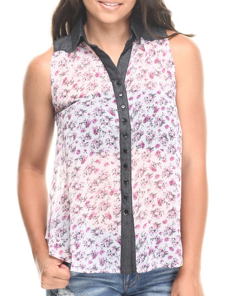 Fashion Lab - Women Multi Chambray Detail Sleeveless Collared Top
